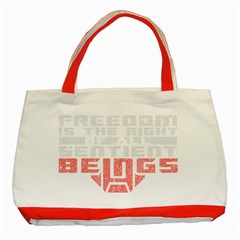 Freedom Is The Right Grunge Classic Tote Bag (red) by justinwhitdesigns