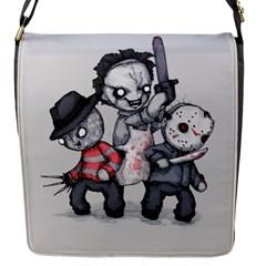 Horror Trifecta Plushie  Flap Messenger Bag (S) by lvbart