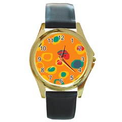 Orange abstraction Round Gold Metal Watch