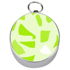 Green Abstract Design Silver Compasses by Valentinaart