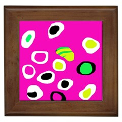 Pink abstract pattern Framed Tiles by Valentinaart