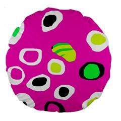 Pink abstract pattern Large 18  Premium Round Cushions