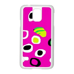 Pink Abstract Pattern Samsung Galaxy S5 Case (white) by Valentinaart