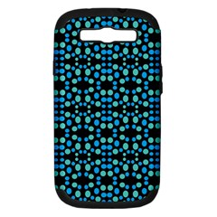 Dots Pattern Turquoise Blue Samsung Galaxy S III Hardshell Case (PC+Silicone) by BrightVibesDesign