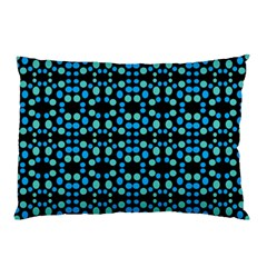 Dots Pattern Turquoise Blue Pillow Case by BrightVibesDesign