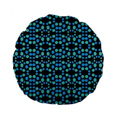 Dots Pattern Turquoise Blue Standard 15  Premium Round Cushions by BrightVibesDesign