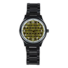 Dots Pattern Yellow Stainless Steel Round Watch by BrightVibesDesign