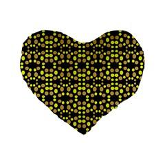 Dots Pattern Yellow Standard 16  Premium Heart Shape Cushions by BrightVibesDesign