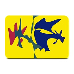 Yellow Amoeba Abstraction Plate Mats by Valentinaart