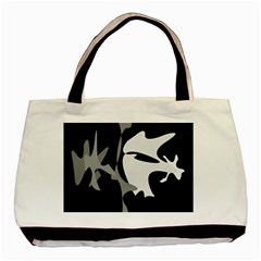 Black and white amoeba abstraction Basic Tote Bag (Two Sides) by Valentinaart