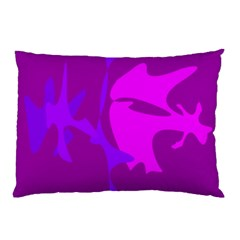 Purple, Pink And Magenta Amoeba Abstraction Pillow Case (two Sides) by Valentinaart