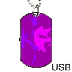 Purple, Pink And Magenta Amoeba Abstraction Dog Tag Usb Flash (one Side) by Valentinaart
