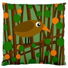 Brown Bird Large Flano Cushion Case (two Sides) by Valentinaart