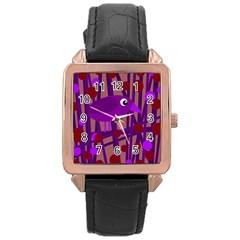 Sweet Purple Bird Rose Gold Leather Watch  by Valentinaart