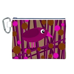 Cute Magenta Bird Canvas Cosmetic Bag (l) by Valentinaart