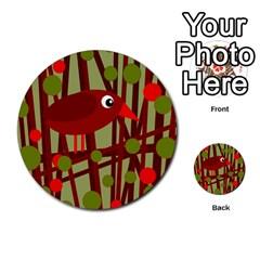Red Cute Bird Multi Purpose Cards (round)  by Valentinaart