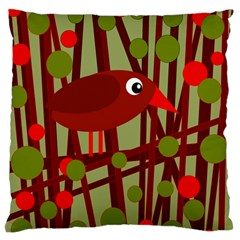 Red Cute Bird Large Flano Cushion Case (two Sides) by Valentinaart