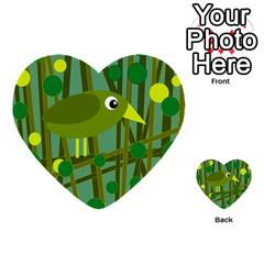 Cute Green Bird Multi Purpose Cards (heart)  by Valentinaart