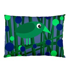 Green And Blue Bird Pillow Case by Valentinaart