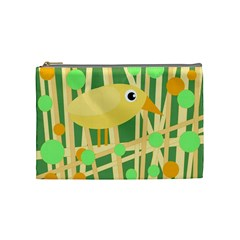 Yellow Little Bird Cosmetic Bag (medium)  by Valentinaart