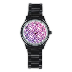 Purple Shatter Geometric Pattern Stainless Steel Round Watch by TanyaDraws