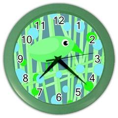 Green Bird Color Wall Clocks by Valentinaart