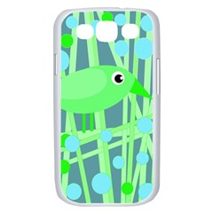 Green bird Samsung Galaxy S III Case (White)