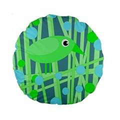 Green bird Standard 15  Premium Round Cushions by Valentinaart