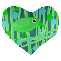 Green Bird Large 19  Premium Heart Shape Cushions by Valentinaart