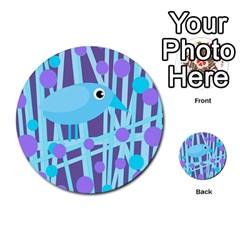 Blue And Purple Bird Multi Purpose Cards (round)  by Valentinaart
