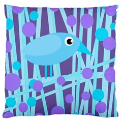 Blue And Purple Bird Large Cushion Case (two Sides) by Valentinaart