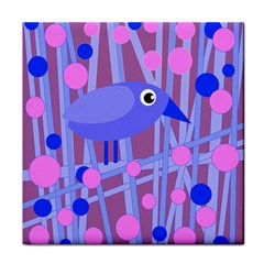 Purple And Blue Bird Face Towel by Valentinaart