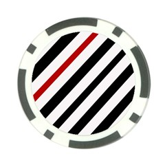 Red, black and white lines Poker Chip Card Guards (10 pack)  by Valentinaart