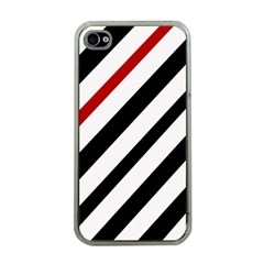 Red, Black And White Lines Apple Iphone 4 Case (clear) by Valentinaart
