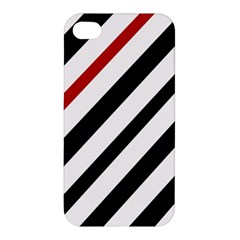 Red, Black And White Lines Apple Iphone 4/4s Hardshell Case by Valentinaart