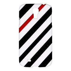 Red, black and white lines Samsung Galaxy S4 I9500/I9505 Hardshell Case