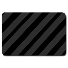 Gray and black lines Large Doormat