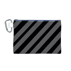 Black And Gray Lines Canvas Cosmetic Bag (m) by Valentinaart