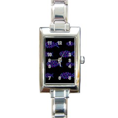 Purple Fishes Pattern Rectangle Italian Charm Watch by Valentinaart