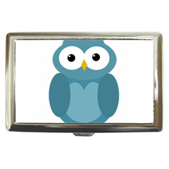 Cute Blue Owl Cigarette Money Cases by Valentinaart