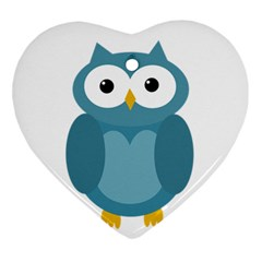 Cute blue owl Heart Ornament (2 Sides) by Valentinaart