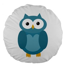 Cute Blue Owl Large 18  Premium Flano Round Cushions by Valentinaart