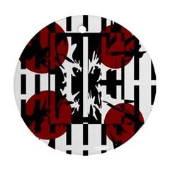 Red, Black And White Elegant Design Ornament (round)  by Valentinaart