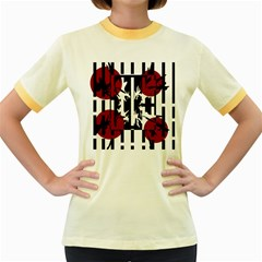 Red, Black And White Elegant Design Women s Fitted Ringer T Shirts by Valentinaart