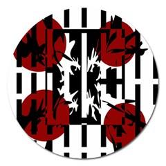 Red, Black And White Elegant Design Magnet 5  (round) by Valentinaart