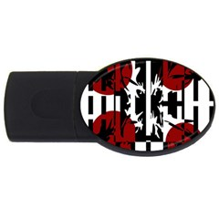 Red, Black And White Elegant Design Usb Flash Drive Oval (2 Gb)  by Valentinaart