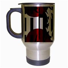 Red, Black And White Elegant Design Travel Mug (silver Gray) by Valentinaart