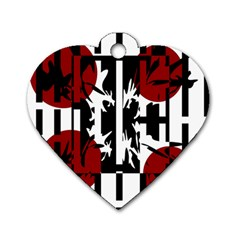 Red, Black And White Elegant Design Dog Tag Heart (two Sides) by Valentinaart