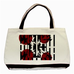 Red, Black And White Elegant Design Basic Tote Bag (two Sides) by Valentinaart