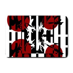 Red, Black And White Elegant Design Small Doormat  by Valentinaart